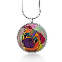Colorful Pug Necklace - Animal Gift - Gifts for Her - Jewelry - $18.32