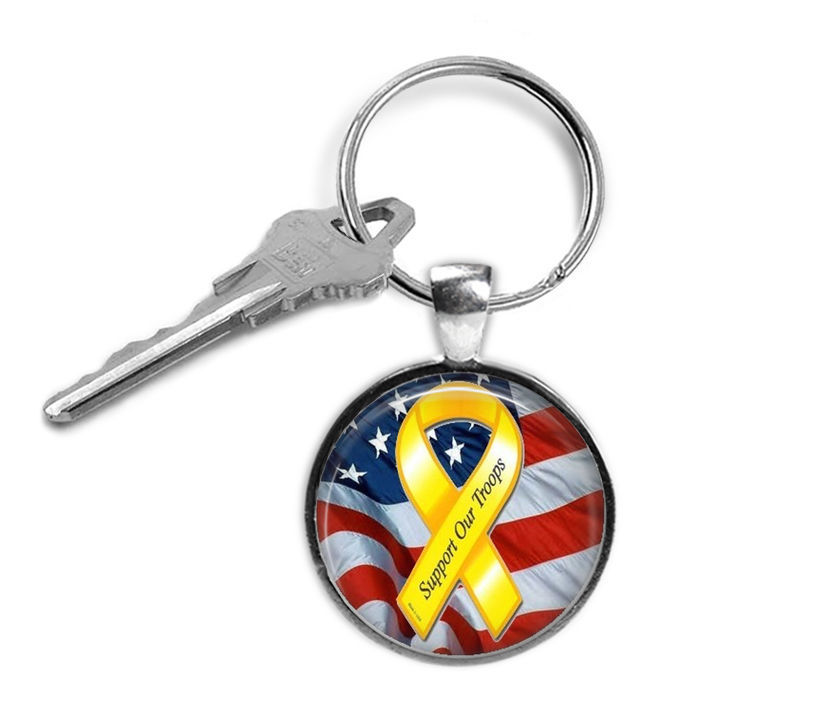Primary image for Support Our Troops Keyring, Military, Gifts for Him, Gifts for Her, Key Chain