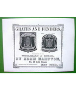 1853 Antique Print & AD : Mount Carmel & A. Hampton New York Grates Fenders - $19.75