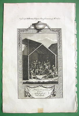 GUINEA NATIVES Newborn Religious Rites - 1780 Antique Print Engraving