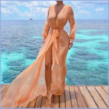 Sheer Chiffon Saroong Full Length Long Sleeve Beach Swimsuit Tie Belt Cover Up image 2