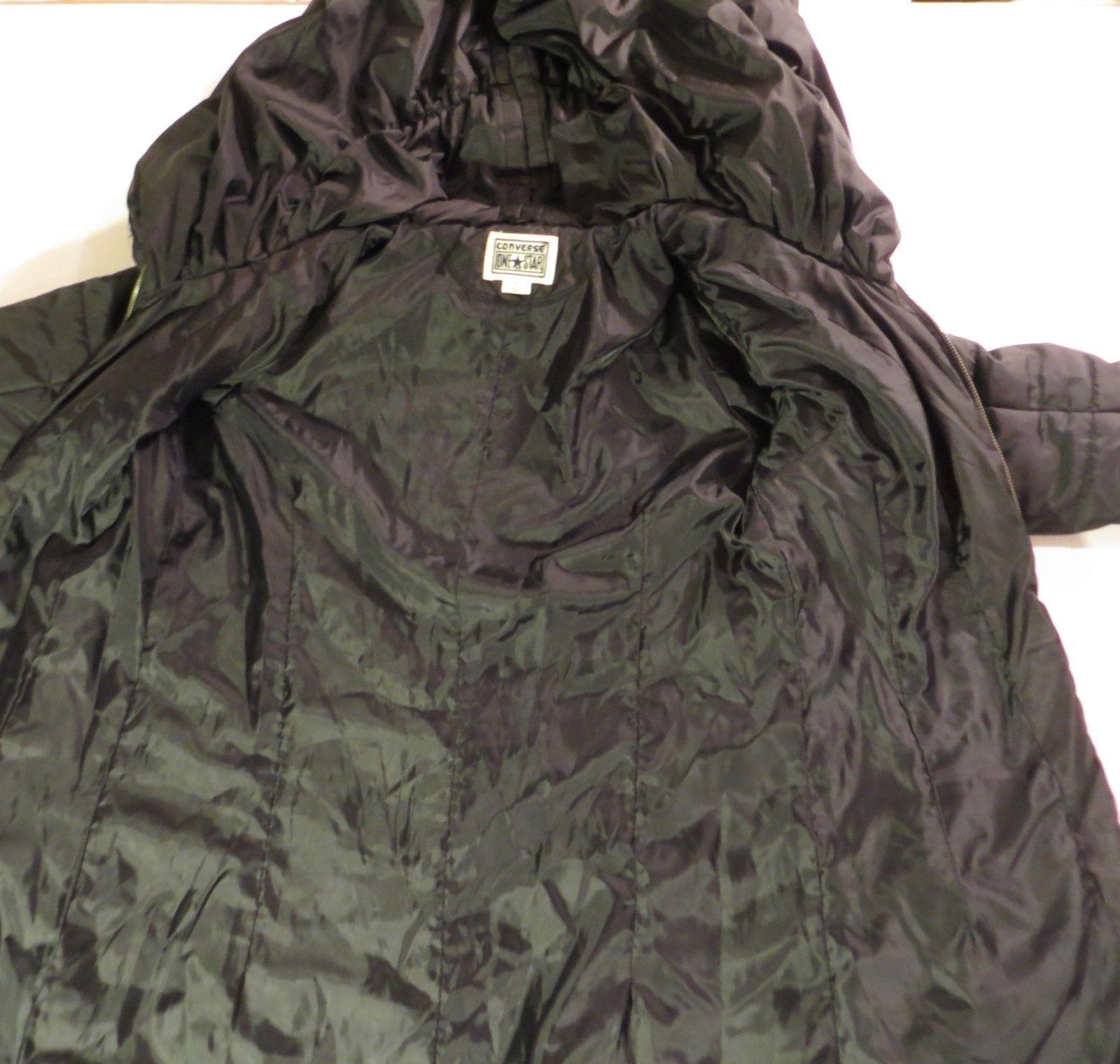 Converse One Star Winter Coat Womens Small Hood Warm Parka Jacket Black 4be9ffcc27df