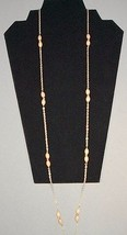 """Classic 35"""" Round Link Chain With Tan Wood Beads... - $29.95"""