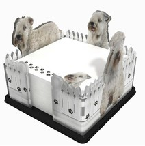 WHEATEN TERRIER NOTE PAD HOLDER W/ STICKY NOTES POST IT MEMO ACRYLIC GIFT - $15.75