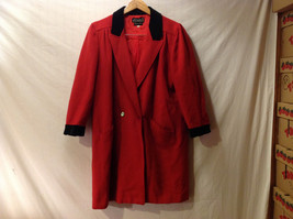 Bensussan Women Size US L EU 44 Long Coat Red Black Wool Cashmere Made in Italy