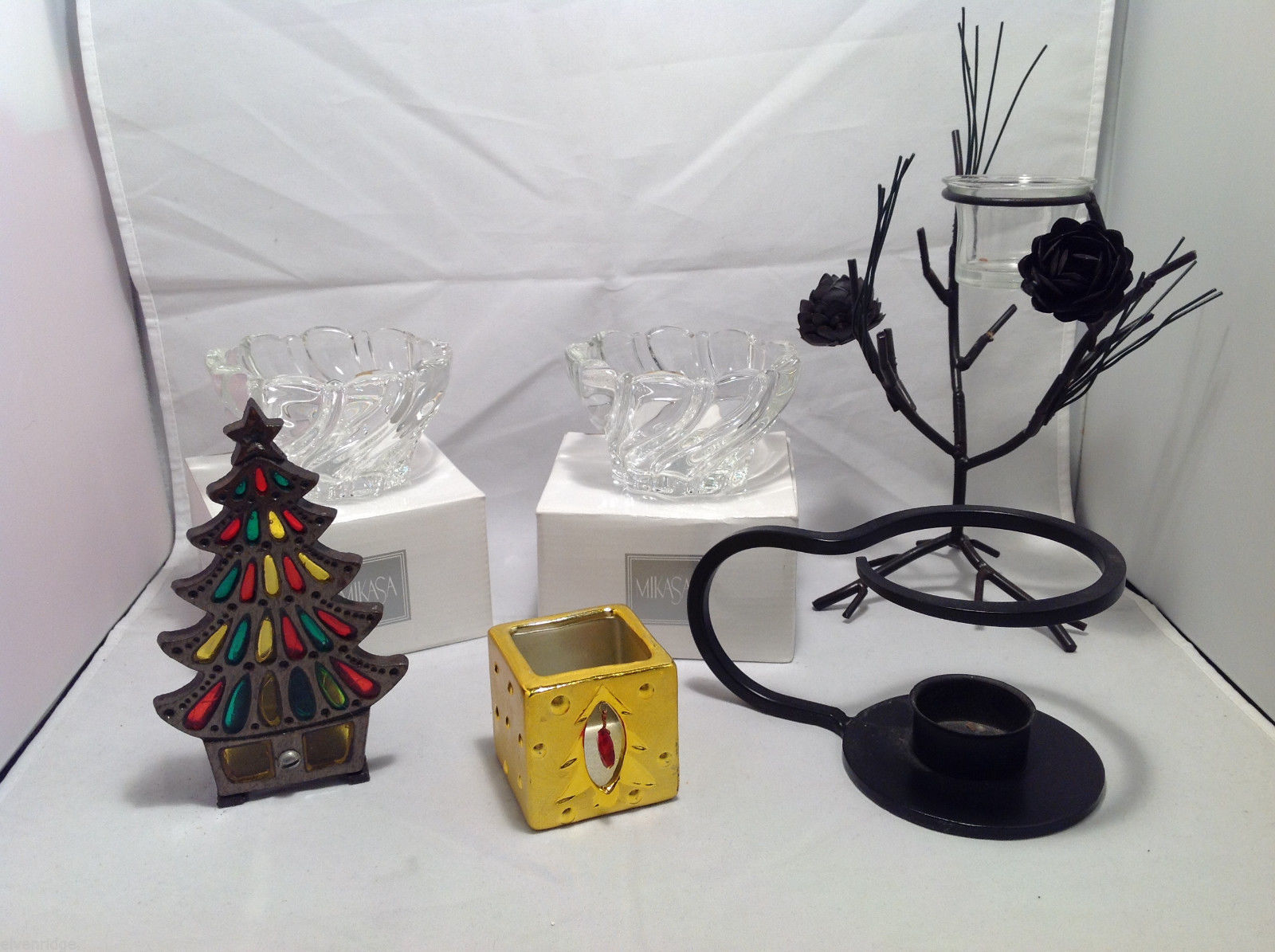 6 Set Assorted Candle Holders Christmas Tree Box Glass Votive Wrought Iron-Look