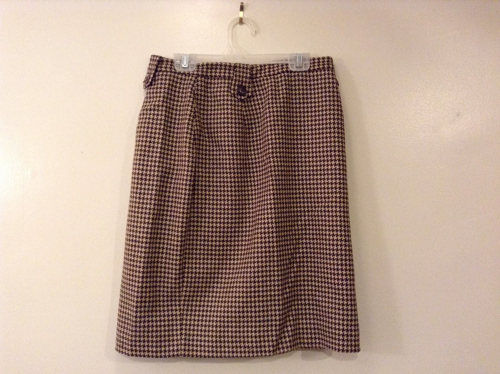 Banana Republic Women's Size 6 Mini Skirt Preppy Houndstooth Brown & Beige Wool
