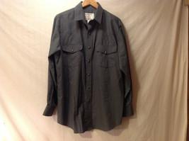 Crazy Cowboy Men's Size L Button-Down Shirt Long Sleeves Thin Gray Black Stripes