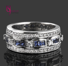 0.88 carat Princess Cut Sapphire Diamond Wedding Anniversary Band 14k Wh... - £1,056.09 GBP