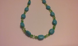 Handmade Genuine Natural Turquoise Gemstone & G... - $12.99