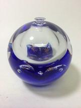 ARTCRISTAL BOHEMIA Cobalt Blue Controlled Bubble Glass Paperweight Oil Lamp - $21.62