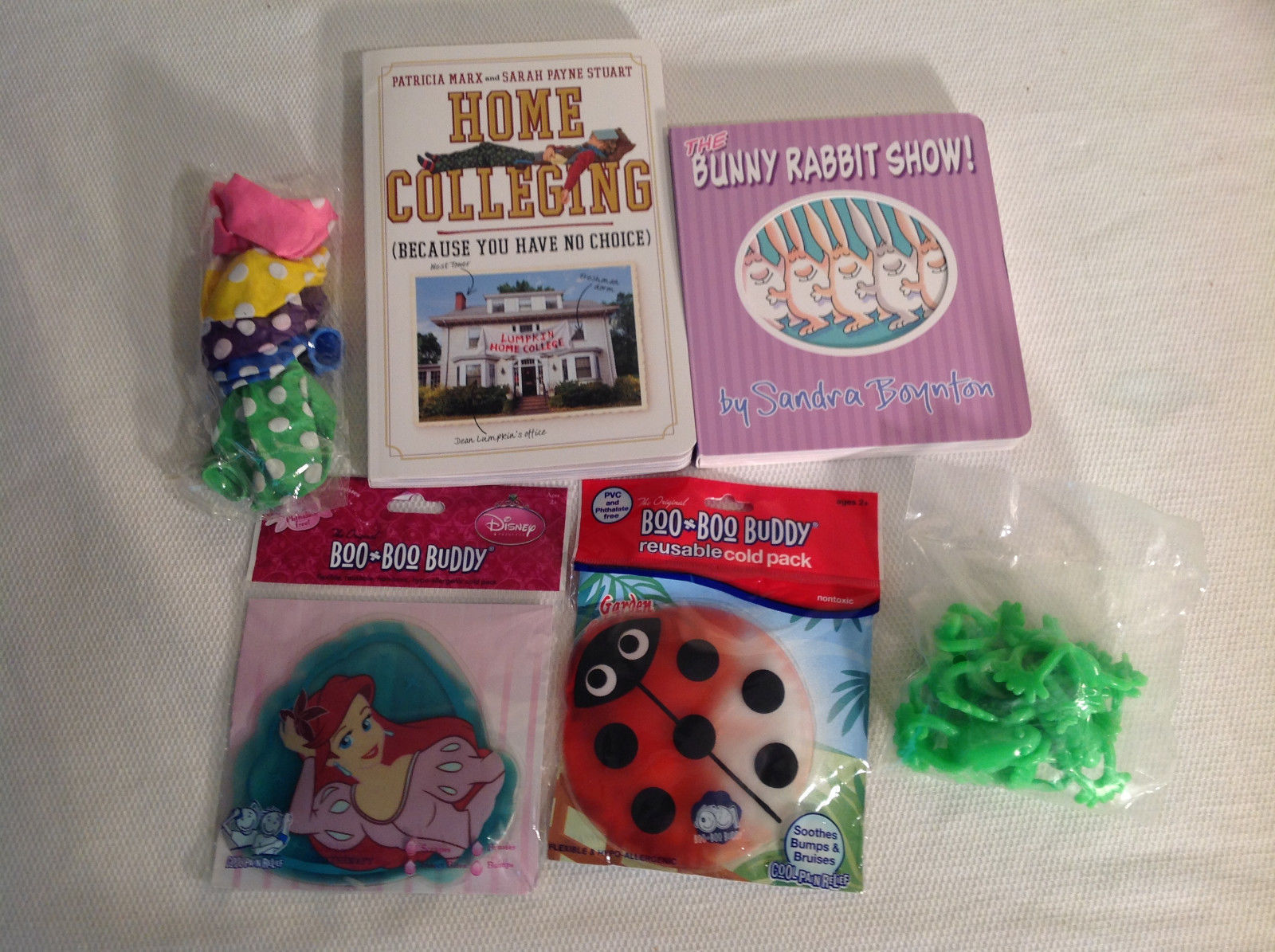 Mommy's Gift Lot - Home Colleging, Bunny Rabit Show, 2 Cold packs balloons slink