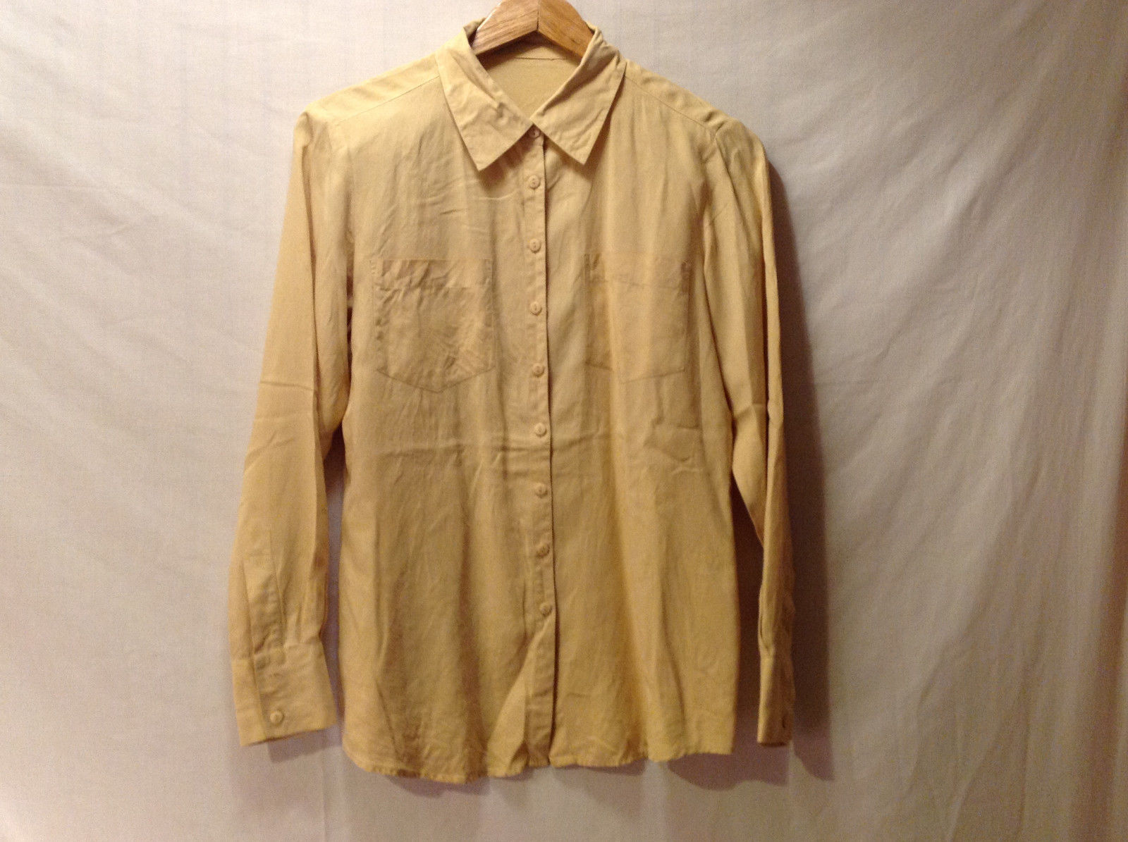 No Brand Women's Size L Button-Down Shirt Blouse Top Butter Yellow Long Sleeves