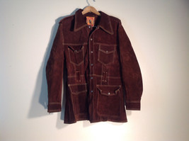 Mens Long Brown Leather Jacket Size 44 Split Cowhide Excellent