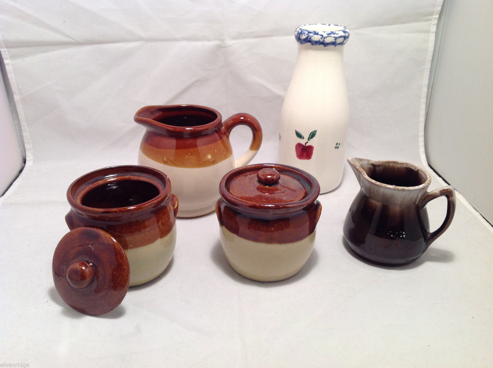 Set of 5 Rustic Glazed Country Pottery Pieces Creamer Jugs Sugar Bowls Milk Vase