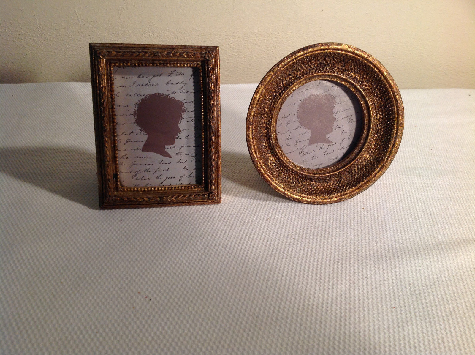 Set of 2 Matching mini-portrait frames, vintage gilded look