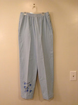 St. Clair Women's Size M Pull-On Pants Light Blue Screen-Print Bedazzled Floral
