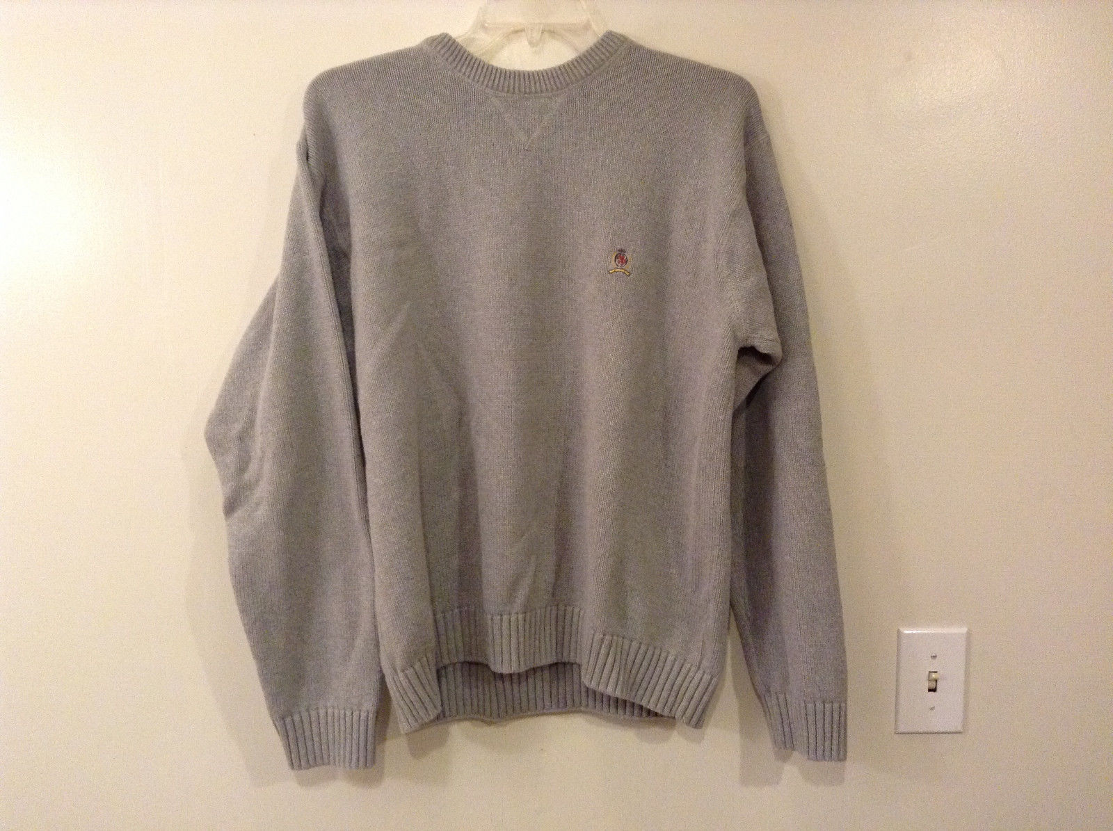 Tommy Hilfiger Men Size XL Crew Sweater Heavy Knit 100% Cotton Gray Long Sleeves