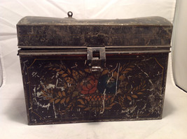 Toleware Metal Storage Box Hand-Painted Document Holder Antique Early American