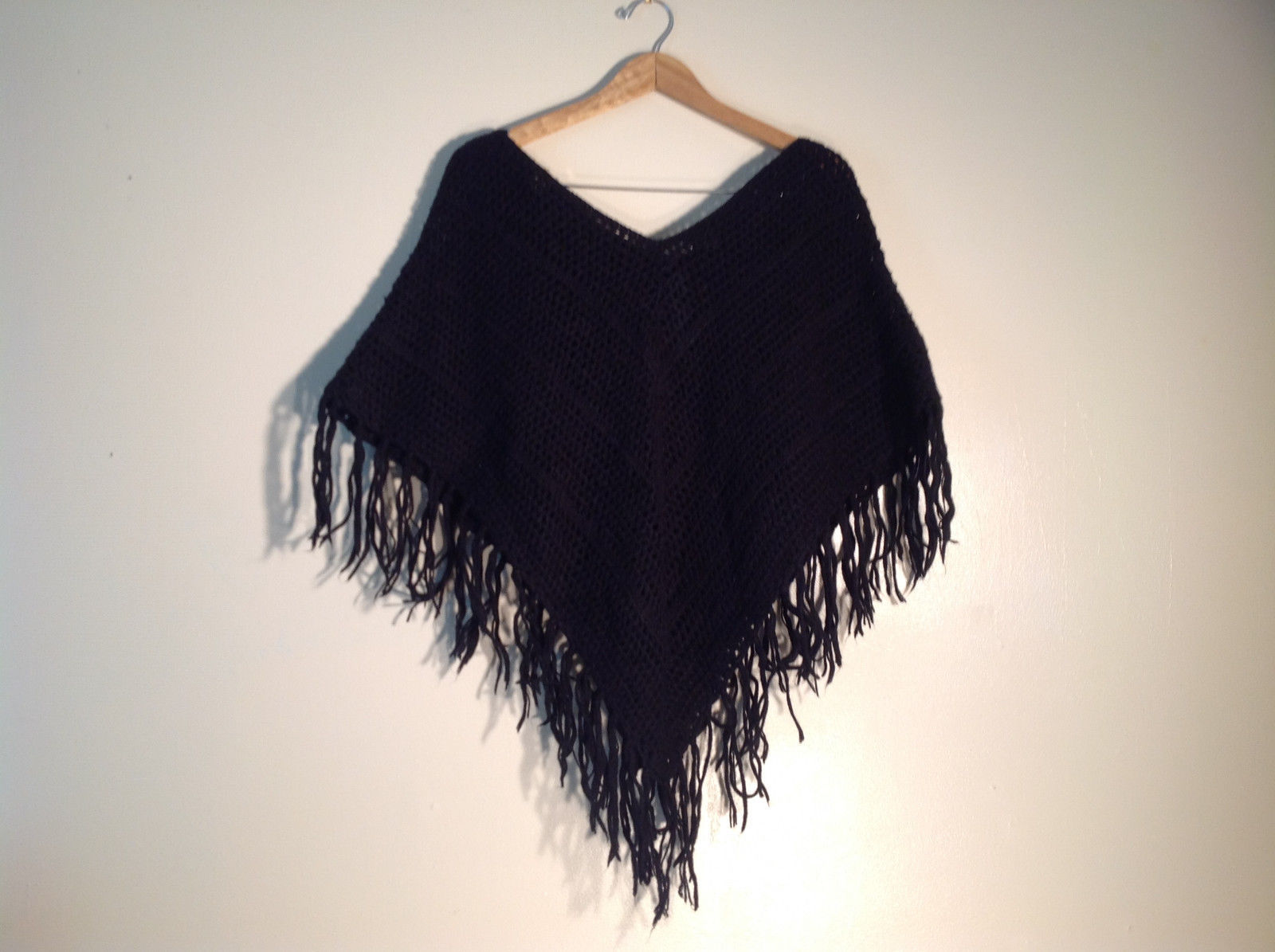 Unisex Black Knit Shawl Wrap Sweater Cover, Arizona Jean Co. 100% Acrylic great