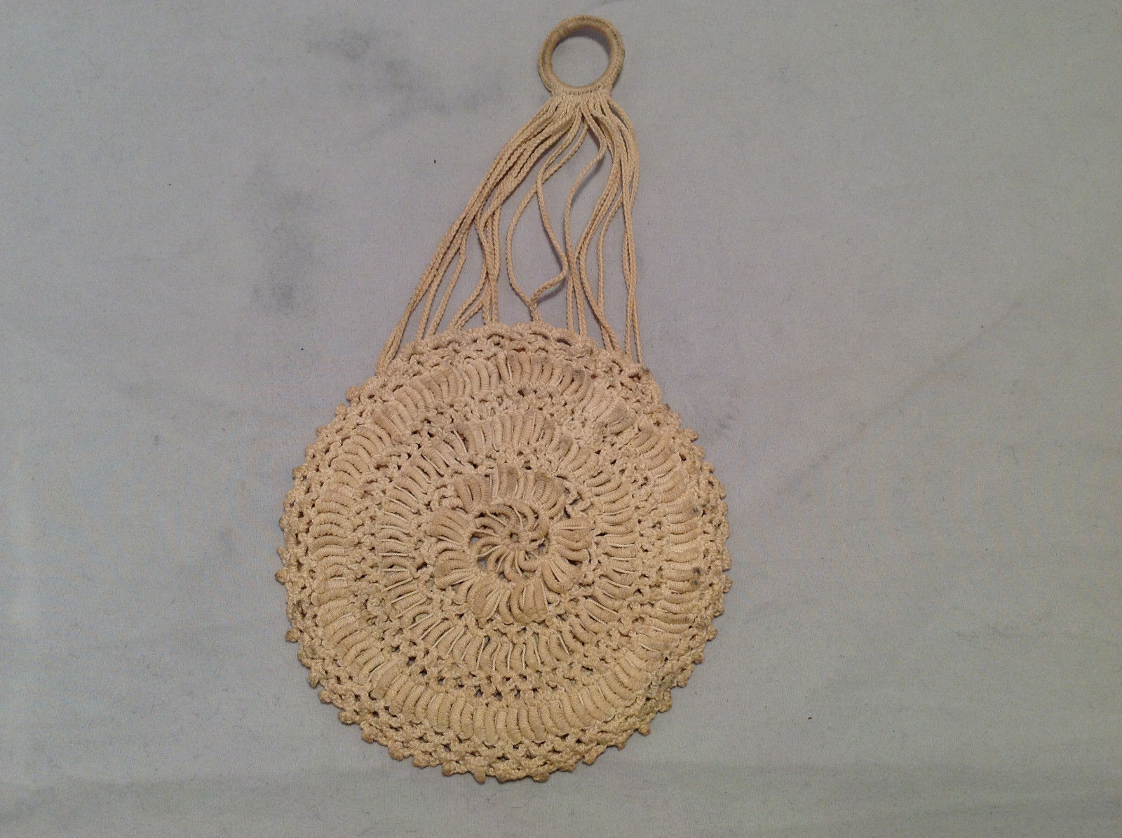 Vintage Boho Crochet Circle Purse Cream Off-White w/ Hanging Ring Rope Straps