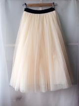 NUDE CREAM Maxi Length Full Tulle skirt Elastic Plus Size Bridesmaid Skirt image 2