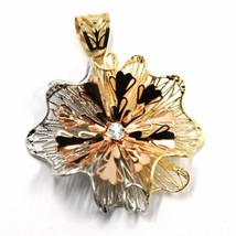 18K YELLOW WHITE ROSE GOLD FLOWER, ONDULATE, FINELY WORKED RAYS PETALS PENDANT image 1