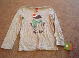 xs 4 5 target penguin gray shirt long sleeve Girls Christmas Holiday  new nwt - $5.68