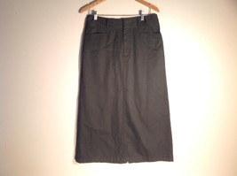 Womens White Stag Dark Dark Green Long Skirt, Denim-like, Size 12, Excellent