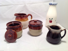 Set of 5 Rustic Glazed Country Pottery Pieces Creamer Jugs Sugar Bowls Milk Vase image 2