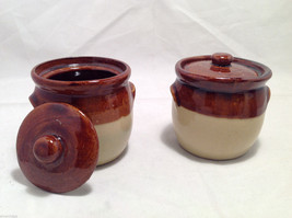 Set of 5 Rustic Glazed Country Pottery Pieces Creamer Jugs Sugar Bowls Milk Vase image 3