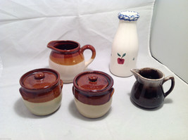 Set of 5 Rustic Glazed Country Pottery Pieces Creamer Jugs Sugar Bowls Milk Vase image 7