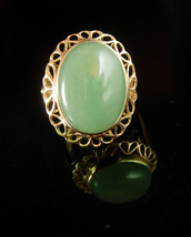 Chinese Jade Ring Vintage Gold Setting Size 7 Virgo March Birthday Green... - $135.00