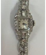 Guaranteed Designer Hamilton vtg 2.5ct Diamond Platinum watch bracelet 6... - $5,699.99