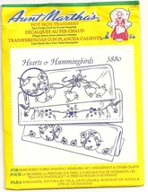 CRAFTS Aunt Martha's Hot Iron Transfers #3880 Hearts & Hummingbirds - $9.85
