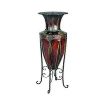 Large Decorative Vase Entryway Floor Metal Plan... - $119.59