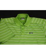 Under Armour Men Golf Polo Shirt Green Purple White Striped Size M VGUC - $19.99