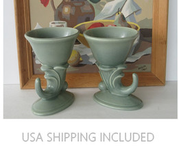 Pair of RumRill Art Deco Cornucopia Vases by Red Wing Pottery 1937 - $75.00