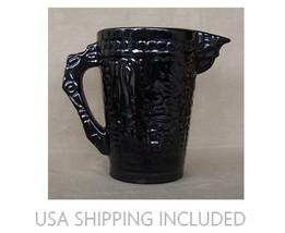 Frankoma Pottery #7D Mayan-Aztec Pattern Pitcher in Onyx Black! - $60.00