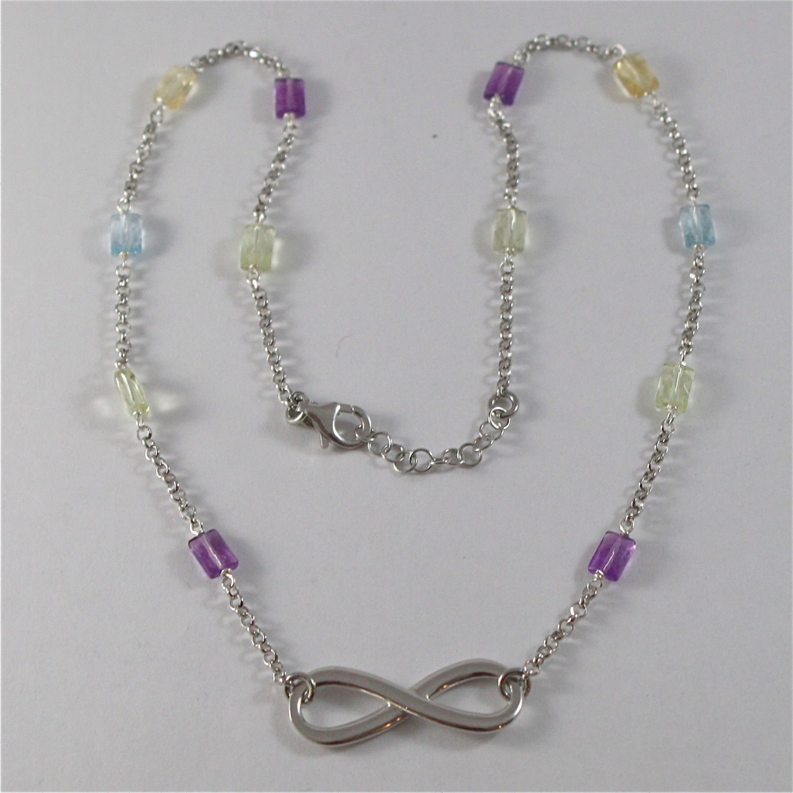 925 SILVER NECKLACE WITH SYMBOL OF INFINITY AND MULTIFACETED STONE MADE IN ITALY