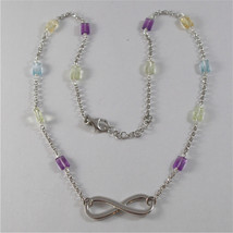 925 SILVER NECKLACE WITH SYMBOL OF INFINITY AND MULTIFACETED STONE image 1