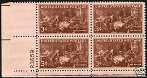 1947 3cent #949 Plate Block of 4 unused