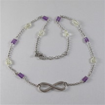 925 SILVER NECKLACE WITH SYMBOL OF INFINITY AND MULTIFACETED STONE image 2