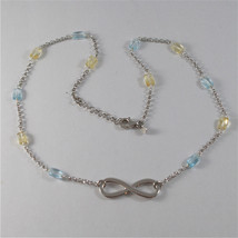 925 SILVER NECKLACE WITH SYMBOL OF INFINITY AND MULTIFACETED STONE image 3