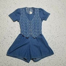 Women's Vintage Alexandra Lee Petite Denim Jean Jumper Shorts ~ Sz 6P ~ ... - $24.25