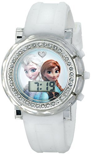Disney Kids' FZN3579 Frozen Anna and Elsa Rhinestone-Accented Watch with Whit...