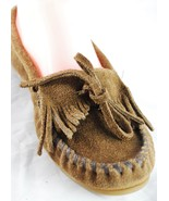 Minnetonka Moccasins Loafer Shoes Brown Suede Leather KILTY Hard Sole Wo... - $29.69
