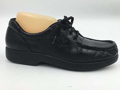 SAS Black Leather Moc Toe Lace Up Tripad Comfort Flats Size 9 Made in USA A3