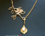 Gold calla lily branch lariat necklace gold orchid thumb155 crop
