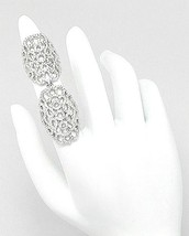 18K GOLD VERMEIL Pave Open Lace Cubic Zirconia Double Knuckle Ring-925 - $149.00